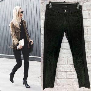 Kooples Soft Suede Panel Black Skinny Jeans Sample